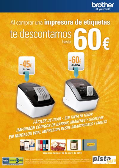 Impresoras Etiquetas Brother, oferta descuento hasta 60€ QL-700, QL-710W