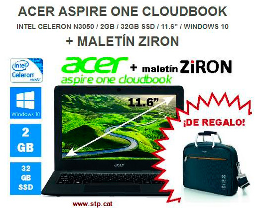 "Oferta Portatil 11.6"" Acer ONE, Disc SSD, maleta de regal"