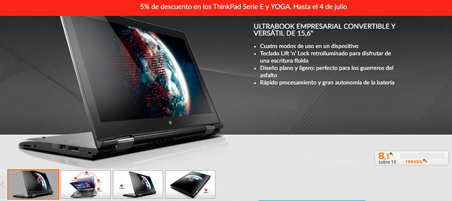 Super Oferta Portatil 2 en 1 Lenovo ThinkPad Yoga 15, SSD, i7