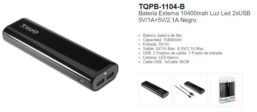 Bateria Externa power bank 10400 stp 1