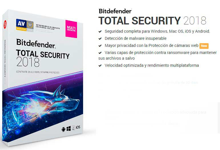 caixa bitdefender total security 2018